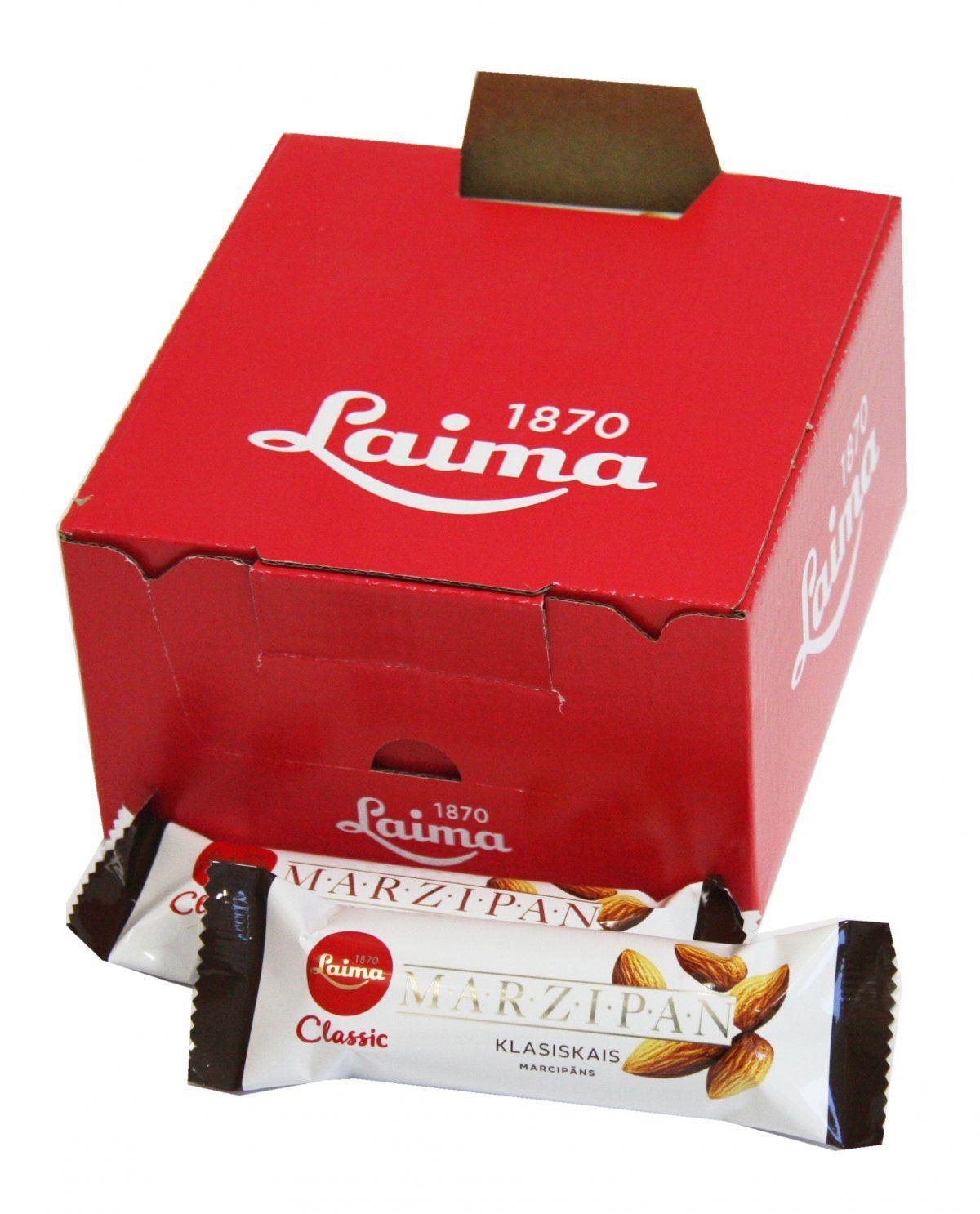 Laima Конфета марципановая шоколадный батончик, 40 г4750001950014Марципановая конфета. Содержание миндаля по европейским стандартам. Только миндаль в темном шоколаде.