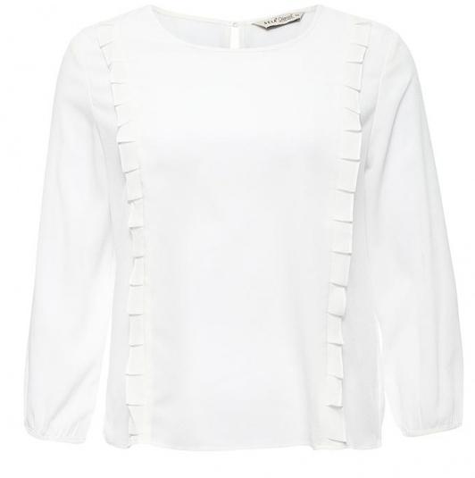 Блузка женская Sela Casual, цвет: белый. Tw-112/1151-7140. Размер M (46)Tw-112/1151-7140Стильная женская блузка Sela, выполненная из 100% полиэстера, подчеркнет ваш уникальный стиль и поможет создать оригинальный женственный образ.Модель с круглым вырезом горловины и рукавами 3/4 застегивается сзади по спинке на пуговицу. Края рукавов также имеют застежки на пуговицах. Спереди блузка дополнена стильными рюшами.