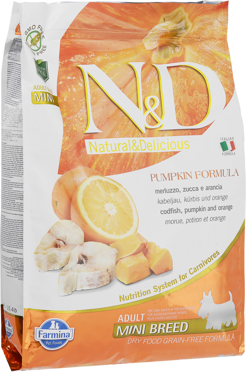 Корм сухой Farmina N&D для собак мелких пород, беззерновой, с треской, тыквой и апельсином, 7 кг33666Сухой корм Farmina N&D является беззерновым и сбалансированным питанием для собак мелких пород. Изделие имеет высокое содержание витаминов и питательных веществ. Сухой корм содержит натуральные компоненты, которые необходимы для полноценного и здорового питания домашних животных.Товар сертифицирован.