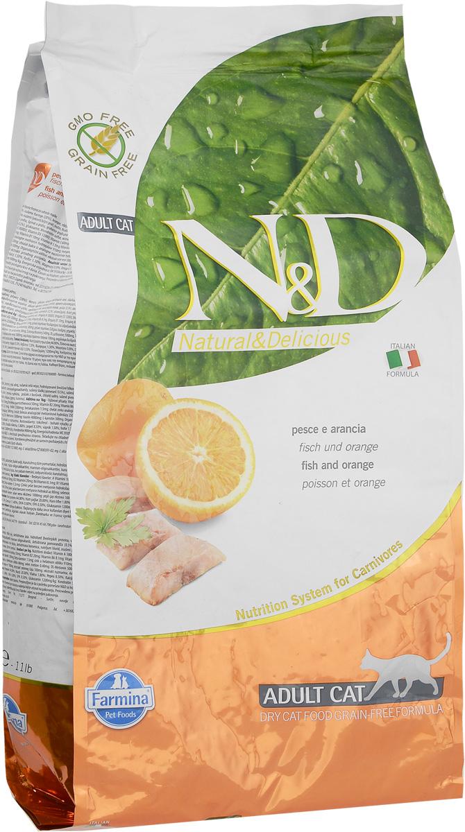 Корм сухой для взрослых кошек Farmina N&D, беззерновой, с рыбой и апельсином, 5 кг farmina farmina n