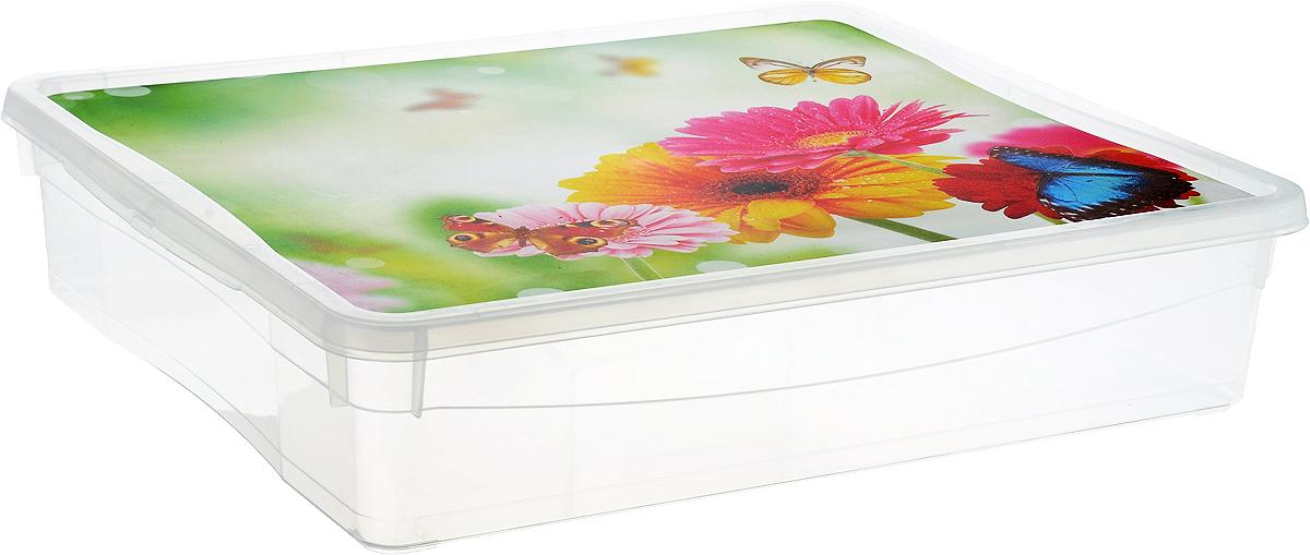 Ящик универсальный Econova, 40 х 33,5 х 8,5 см. 43128164312816Ящик универсальный Econova изготовлен из прочного прозрачного пластика. Ящик снабжен плотно закрывающейся крышкой с изображением цветов и бабочек. Благодаря специальным ручкам ящик удобно переносить. В таком ящике удобно хранить различные бытовые мелочи, канцелярию, аксессуары для рукоделия и многое другое. Такой ящик позволит навести порядок в доме и хранить все мелкие предметы в одном месте.