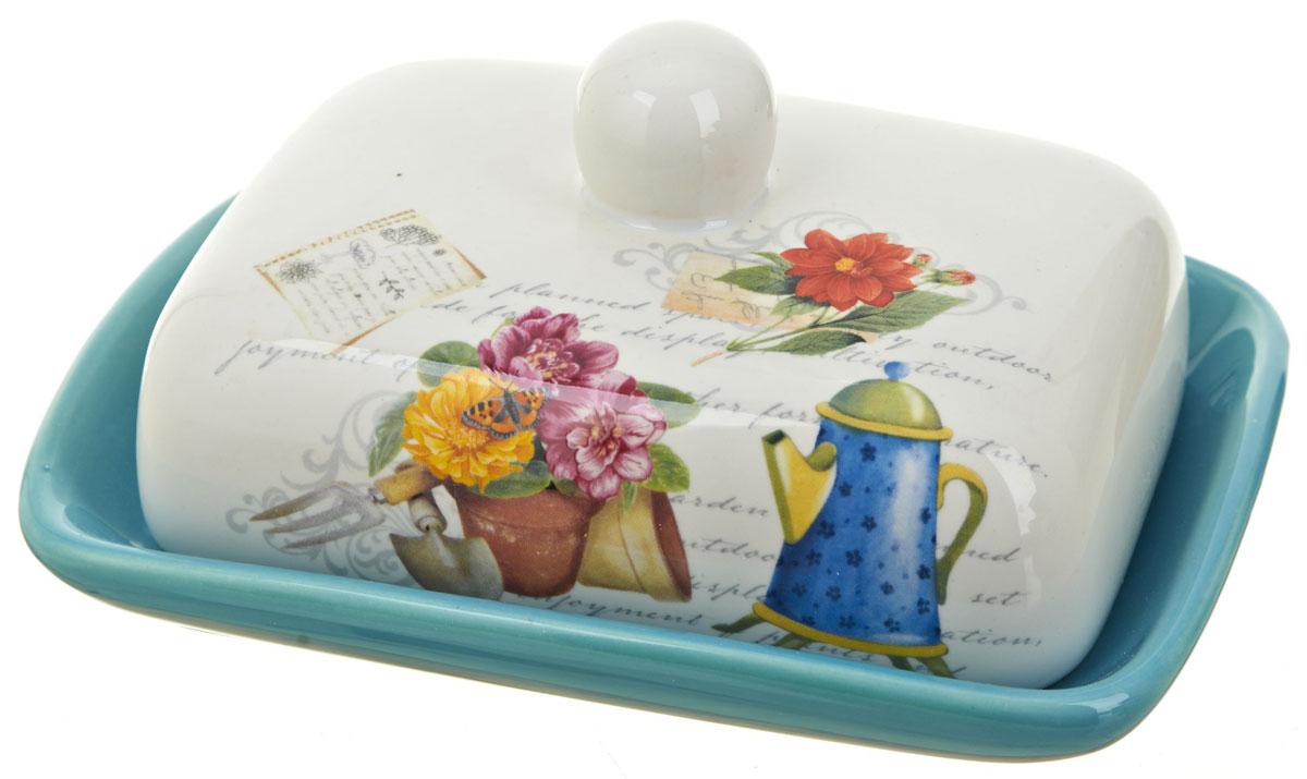 """Масленка """"Сад"""", изготовленная из керамики, предназначена для красивой сервировки и хранения масла. Она состоит из крышки с удобной ручкой и подноса. Масло в ней долго остается свежим, а при хранении в холодильнике не впитывает посторонние запахи. Гладкая поверхность обеспечивает легкую чистку.Можно мыть в посудомоечной машине."""
