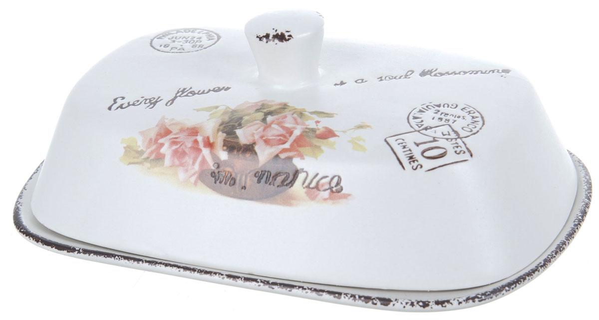 Масленка ENS Group Чайная роза. 17501531750153Масленка Чайная роза, изготовленная из керамики, предназначена для красивой сервировки и хранения масла. Она состоит из крышки с удобной ручкой и подноса. Масло в ней долго остается свежим, а при хранении в холодильнике не впитывает посторонние запахи. Гладкая поверхность обеспечивает легкую чистку.Можно мыть в посудомоечной машине.