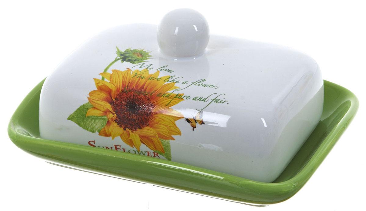 Масленка ENS Group Подсолнух. 25204602520460Масленка Подсолнух, изготовленная из керамики, предназначена для красивой сервировки и хранения масла. Она состоит из крышки с удобной ручкой и подноса. Масло в ней долго остается свежим, а при хранении в холодильнике не впитывает посторонние запахи. Гладкая поверхность обеспечивает легкую чистку.Можно мыть в посудомоечной машине.