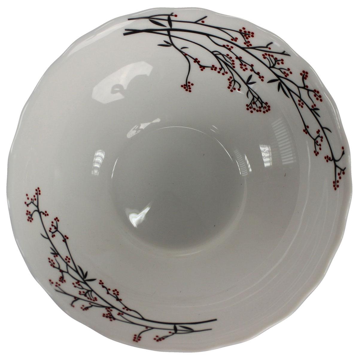 Салатник Марисса, 600 мл. 818935818935Салатник Марисса выполнен из опалового стекла и оформлен цветочным принтом. Удобный и вместительный салатник подойдет как для сервировки салатов, так и в качестве тарелки для первых блюд.