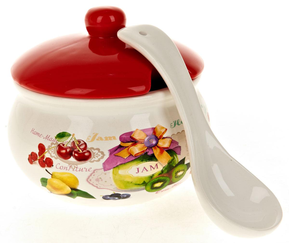"""Сахарница """"Джем"""" с крышкой и ложкой изготовлена из керамики и украшена ярким рисунком.Емкость универсальна, подойдет как для сахара, так и для специй или меда. Можно мыть в посудомоечной машине."""