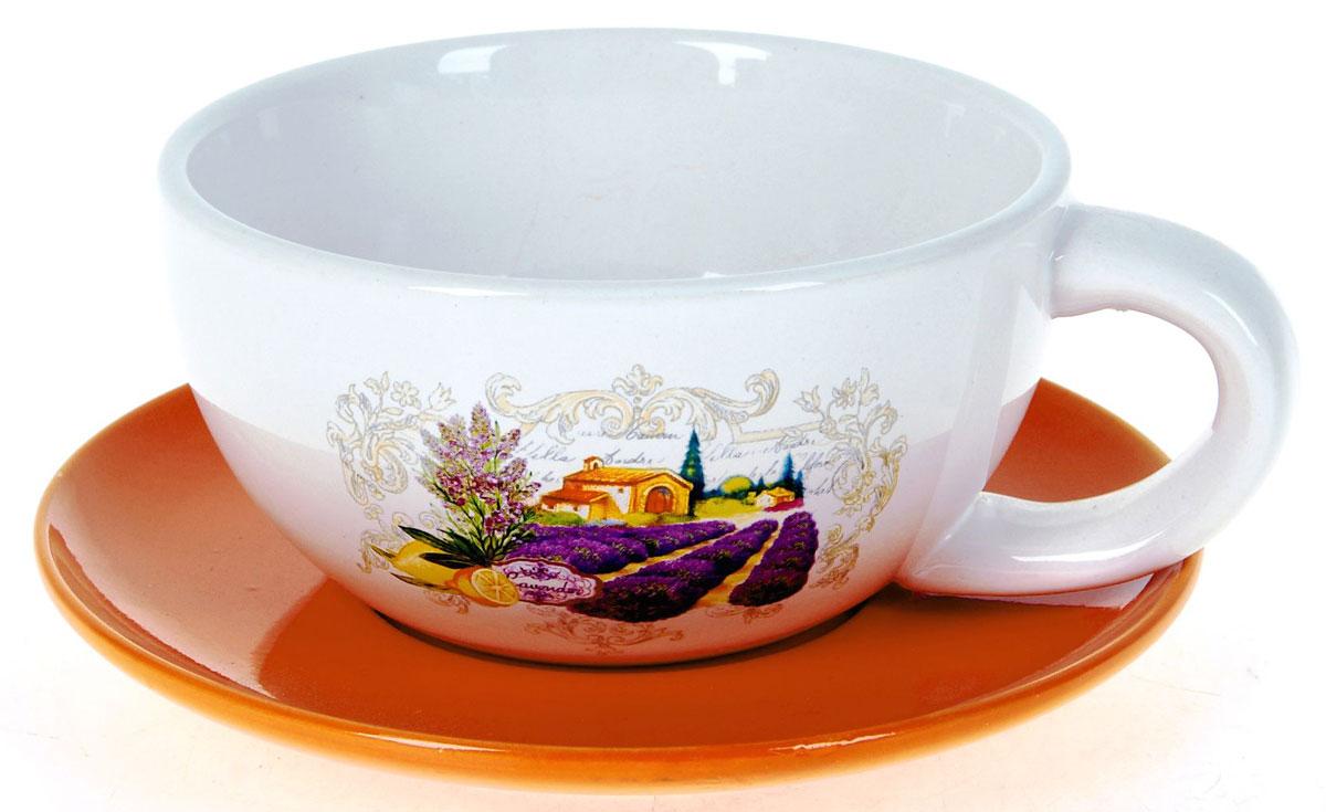 Кружка суповая ENS Group Прованс, с блюдцем, 500 мл. L2430711 салатник ens group садовая ягода 500 мл l2520288