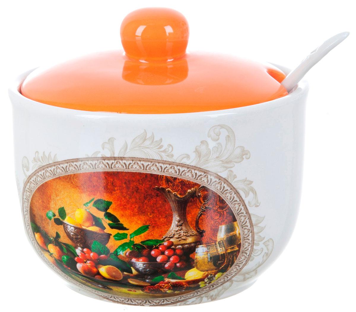 Сахарница ENS Group Севилья, с ложкой, 400 млL2520561Сахарница Севилья с крышкой и ложкой изготовлена из керамики и украшена ярким рисунком.Емкость универсальна, подойдет как для сахара, так и для специй или меда. Можно мыть в посудомоечной машине.