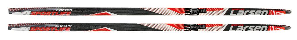 Лыжи беговые Larsen Sport Life Step 205, цвет: черный, красный, белый, рост 205 см лыжи беговые tisa top universal с креплением цвет желтый белый черный рост 182 см