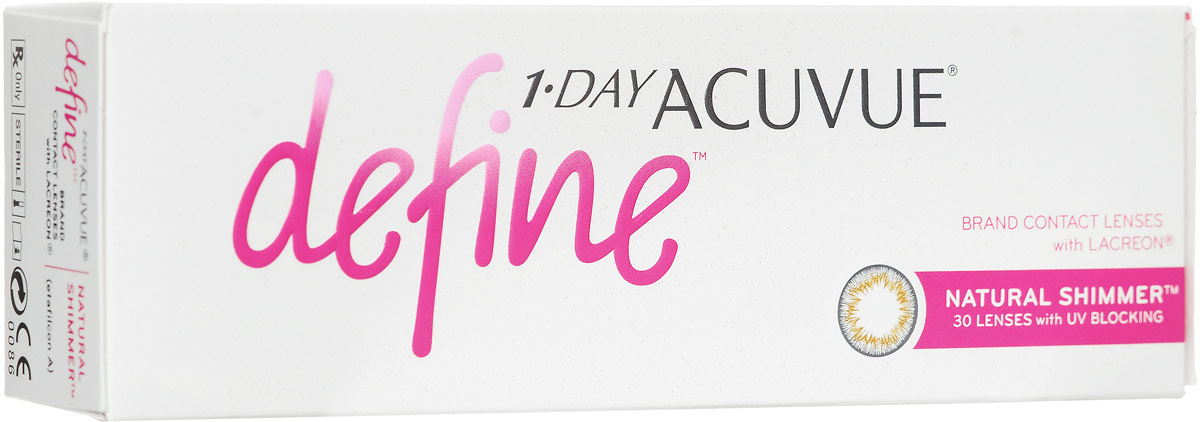 Johnson & Johnson Контактные линзы 1-Day Acuvue Define With Lacreon (30шт / -9.00 / 8.5 / 14.2) Shimmer контактные линзы 365 day контактные линзы 1 25 3мес