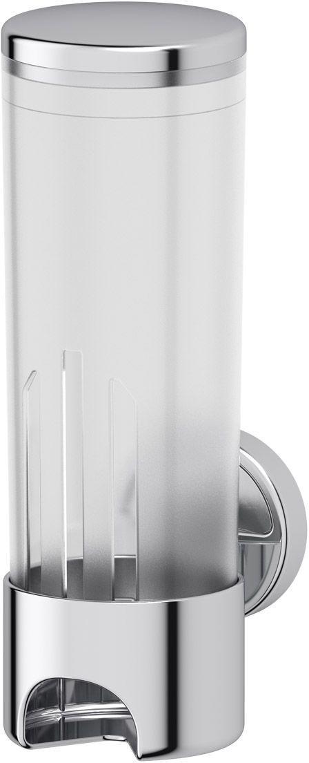Контейнер для косметических дисков FBS Luxia, цвет: хром, белый. LUX 019LUX 019Очень часто в ванных комнатах для косметических дисков, так необходимых женщинам, не находится подходящего места. Контейнер для косметических дисков FBS Luxia дает возможность их гигиеничного хранения и создает удобство в использовании. Полупрозрачный корпус позволяет наблюдать расход дисков с целью своевременного пополнения контейнера. Косметические диски изымаются из контейнера легким движением пальцев. Закладка дисков происходит через верхнее отверстие при снятой крышке. Все элементы контейнера изготовлены из прочного качественного пластика, частично покрытого специальным стойким хромом. Белый матовый корпус контейнера гармонирует с матовым стеклом предметов коллекций.При необходимости чистки контейнера его свободно можно отделить от настенного держателя.