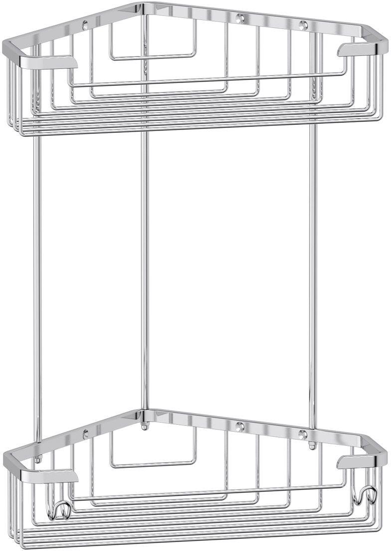 "Полочка-решетка для ванной FBS ""Ryna"", с крючками, угловая, 2-х ярусная, цвет: хром, 23 х 23 см. RYN 006"