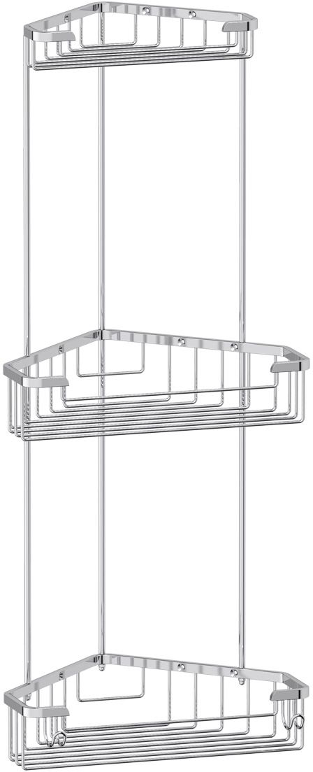 """Полочка-решетка для ванной FBS """"Ryna"""", с крючками, угловая, 3-х ярусная, 18/23/23 см, цвет: хром. RYN 008"""