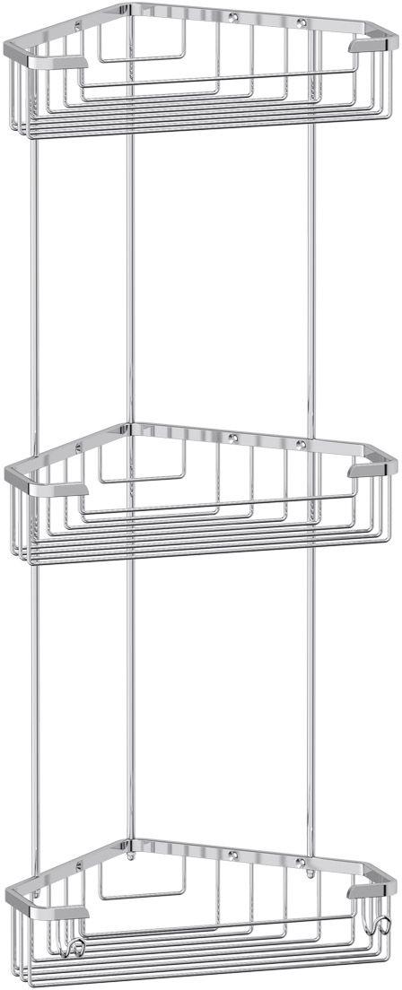 "Полочка-решетка для ванной FBS ""Ryna"", с крючками, угловая, 3-х ярусная, цвет: хром, 23 х 23 х 23 см. RYN 009"