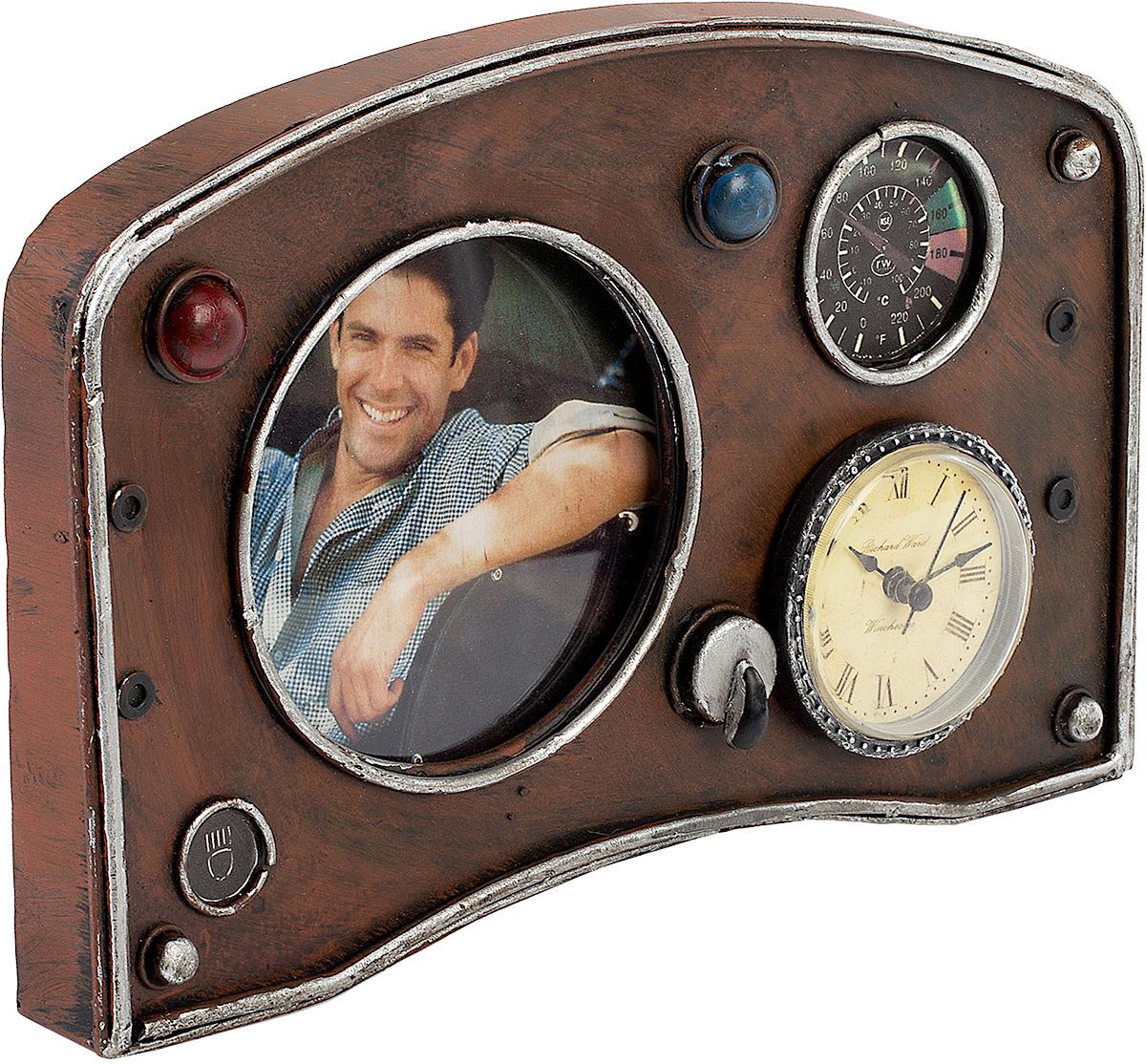 Фоторамка с часами Platinum Панель приборов, цвет: коричневый. 1404B-13431404B-1343