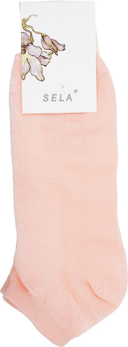 Носки женские Sela, цвет: персиковый. SOb-154/044-7101. Размер 21/23SOb-154/044-7101Удобные женские носки Sela, изготовленные из высококачественного материала. Благодаря содержанию мягкого хлопка в составе, кожа сможет дышать, а эластан позволяет носкам легко тянуться, что делает их комфортными в носке. Эластичная резинка плотно облегает ногу, не сдавливая ее, обеспечивая комфорт и удобство. Верхняя сторона носков оформлена небольшой перфорацией. Уважаемые клиенты!Размер, доступный для заказа, является длиной стопы.