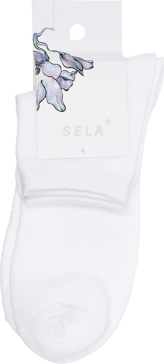 Носки женские Sela, цвет: белый. SOb-154/043-7101. Размер 19/21SOb-154/043-7101Удобные женские носки Sela, изготовленные из высококачественного материала, станут отличным дополнением к детскому гардеробу. Благодаря содержанию мягкого хлопка в составе, кожа сможет дышать, а эластан позволяет носкам легко тянуться, что делает их комфортными в носке.Эластичная резинка плотно облегает ногу, не сдавливая ее,обеспечивая комфорт и удобство. Верхняя сторона носочка оформлена небольшой перфорацией. Уважаемые клиенты!Размер, доступный для заказа, является длиной стопы.