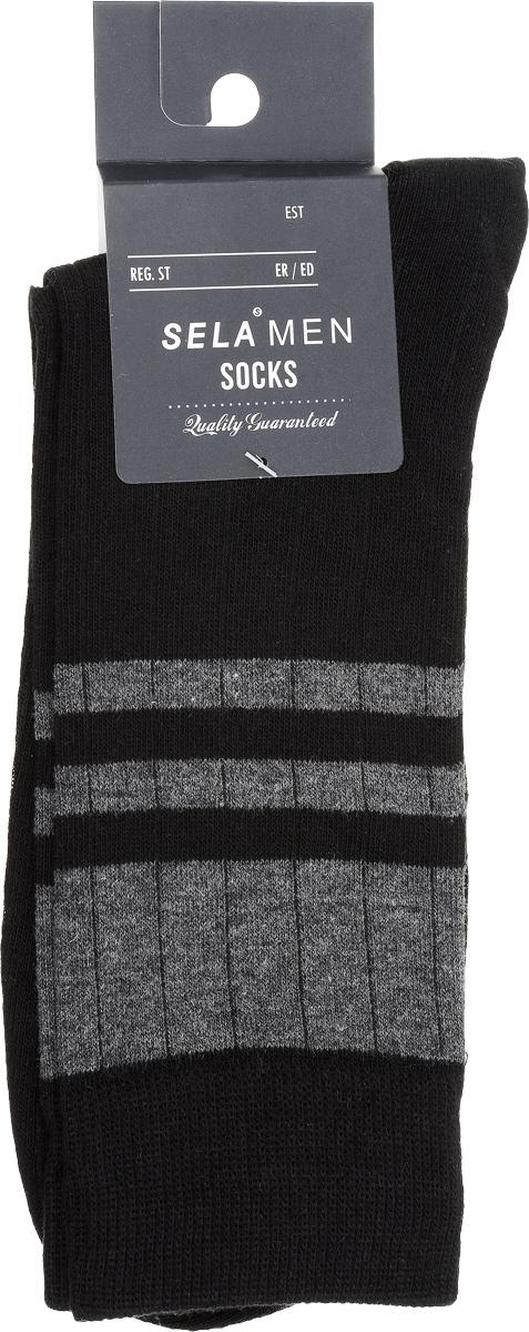 Носки мужские Sela, цвет: черный. SOb-254/021-7101. Размер 23/25SOb-254/021-7101Удобные мужские носки Sela, изготовленные из высококачественного материала. Благодаря содержанию мягкого хлопка в составе, кожа сможет дышать, а эластан позволяет носкам легко тянуться, что делает их комфортными в носке. Эластичная резинка плотно облегает ногу, не сдавливая ее, обеспечивая комфорт и удобство. Стандартный паголенок оформлен контрастными полосами. Уважаемые клиенты!Размер, доступный для заказа, является длиной стопы.