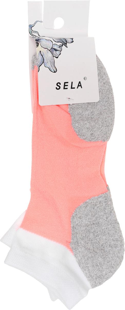 Носки женские Sela, цвет: белый, персиковый, серый. SOb-154/051-7101. Размер 21/23SOb-154/051-7101Удобные женские носки Sela, изготовленные из высококачественного комбинированного материала. Благодаря содержанию мягкого хлопка в составе, кожа сможет дышать, а эластан позволяет носкам легко тянуться, что делает их комфортными в носке. Эластичная резинка плотно облегает ногу, не сдавливая ее, обеспечивая комфорт и удобство. Носки дополнены усиленными пяткой и мысом. Уважаемые клиенты!Размер, доступный для заказа, является длиной стопы.