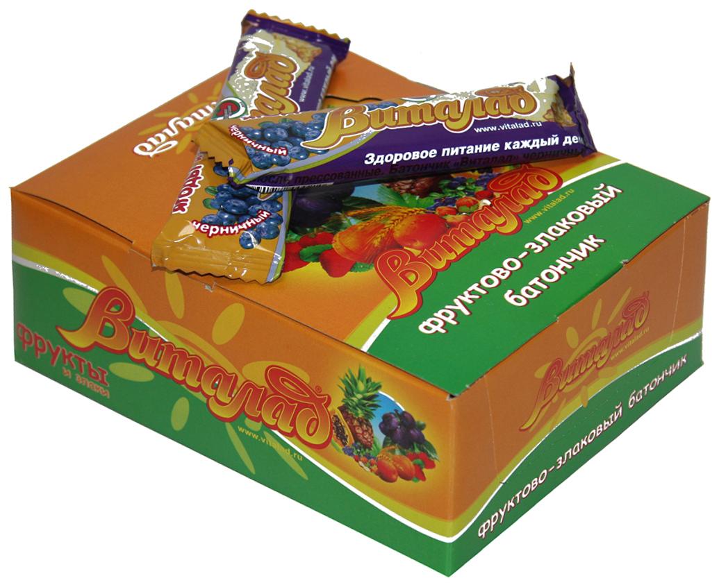 Виталад Черничный злаковый батончик, 24 шт по 40 г take a slim bite кокос батончик фруктово ягодный 30 г