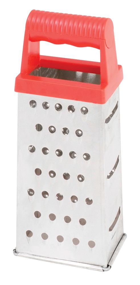 Терка универсальная Regent Inox Presto, четырехгранная, 21 см93-AC-GR-72Многофункциональная четырехгранная терка Regent Inox Presto сделана из нержавеющей стали, которая имеет повышенную крепость и износостойкостью. Изделие 93-AC-GR-72 нужно для измельчения и нарезания фруктов, овощей и других продуктов. Этот изящный аксессуар для кухни впишется абсолютно в любой интерьер. Данная посуда снабжена эргономичной ручкой красного цвета, которая не выскальзывает из руки. Терка не подвергается окислению при длительном соприкосновении с продуктами и легко отмывается, в том числе, и в посудомоечной машине. Посуда упакована в стильную фирменную коробку и может стать приятным подарком.