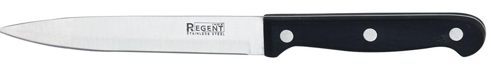 Нож универсальный Regent Inox Forte, длина лезвия 12,5 см93-BL-5Нож для овощей Regent Inox Forte отлично подойдет для повседневного применения. Длина лезвия является оптимальной и комфортной для нарезания овощей и фруктов. Изделие произведено из качественных материалов: нержавеющей стали и бакелита, что делает его использование абсолютно безопасным. Для максимального удобства ручка ножа сделана волнистой формы. Дизайн отличается практичностью и смотрится весьма стильно. Такой нож займет достойное место среди аксессуаров на вашей кухне. Общая длина ножа: 22 см.