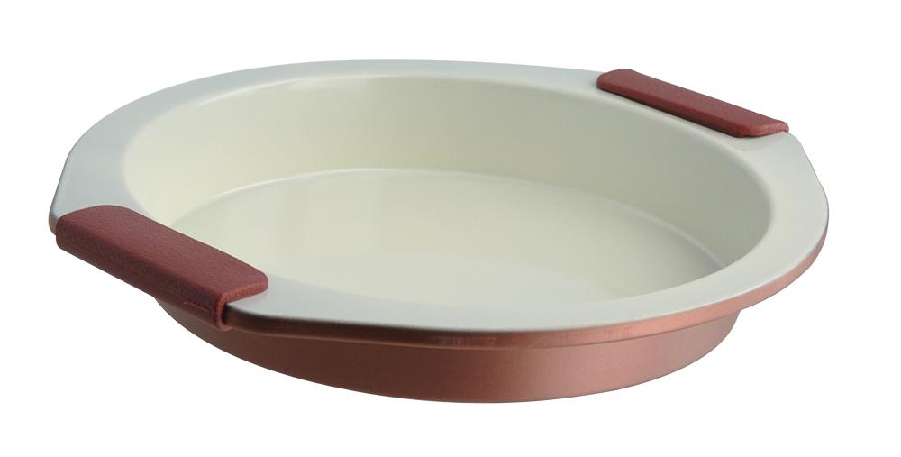 Форма для выпечки Regent Inox Silicone Easy, круглая, 29 х 27 х 4 см93-CS-EA-13-01Круглая форма Regent Inox Silicone Easy имеет высококачественное керамическое внутреннее покрытие, которое выдерживает большие температуры. Легкая углеродистая сталь и ухватистые силиконовые ручки создают комфорт в использовании формы. Её можно мыть в посудомоечной машине и вручную. В форме для выпечки 93-CS-EA-13-01 получаются прекрасные сладкие или соленые пироги и продукты, не относящиеся к кондитерским изделиям, например, курица. Приятным бонусом является изящный дизайн посуды, который впишется в интерьер любой кухни и добавит ей итальянского тепла и радушия.