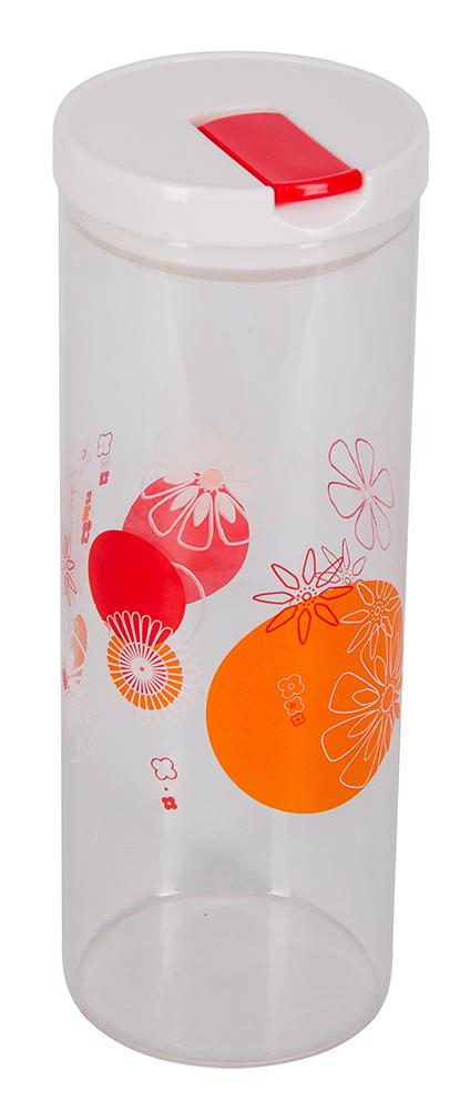 """Банка для сыпучих продуктов Regent Inox """"Desco"""" изготовлена из прочного стекла. Прозрачные стенки позволяют видеть содержимое. Банка снабжена пластиковой крышкой с клапаном. Крышка оснащена силиконовым уплотнительным кольцом. Изделие подходит для хранения разнообразных сыпучих продуктов, таких как крупы, сахар, соль, чай, кофе и многое другое. Банка сбережет ваши продукты от влаги, пыли и насекомых и надолго сохранит их свежими.  Диаметр банки (по верхнему краю): 9,8 см. Высота банки (с учетом крышки): 27 см."""
