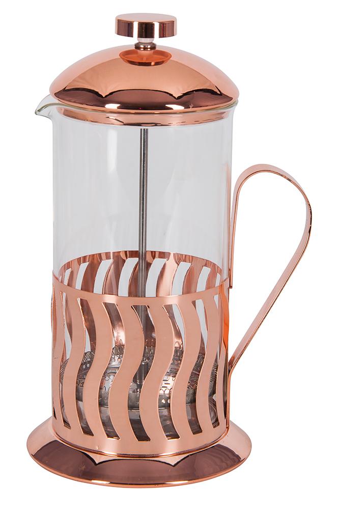 """Френч-пресс Regent Inox """"Franco"""" выполнен из нержавеющей стали и стекла, которые обладают высокой износостойкостью. Раскручивающийся  железный поршень  не пропустит ни одной чаинки и будет служить достаточно долгое время. С его помощью можно регулировать степень крепости чая.  Колба френч-пресса выполнена из термостойкого стекла, что позволяет видеть процесс настаивания и заваривания напитка, а также обеспечивает  гигиеничность посуды."""