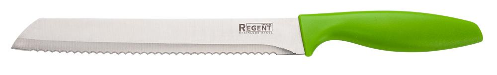 """Хлебный нож Regent Inox Linea """"Filo"""" выполнен из нержавеющей стали, котораяявляется очень легкой и абсолютно не ржавеет. При помощиширокого и длинного с зазубринами лезвия можно без труда нарезать ровнымикусочками даже самый мягкий, свежеиспеченный батон. Изделиевозможно мыть в посудомоечной машине. Этот нож притягивают к себе нетолько контрастом блестящего металла и яркого пластика,однако и собственными выверенными формами, мягкими линиями и комфортнойручкой. Такая посуда займет заслуживающее место из числааксессуаров на вашей кухне."""