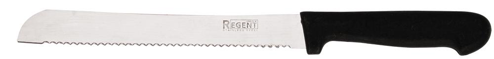 Нож хлебный Regent Inox Linea Presto, 20,5 х 32 см93-PP-2Хлебный нож Regent Inox Linea Presto сделан из нержавеющей стали, которая является очень легкой и абсолютно не ржавеет. При помощи широкого и длинного с зазубринами лезвия можно без труда нарезать ровными кусочками даже самый мягкий, свежеиспеченный батон. Изделие 93-PP-2 возможно мыть в посудомоечной машине. Этот нож притягивают к себе не только контрастом блестящего металла и темного пластика, однако и собственными выверенными формами, мягкими линиями и комфортной ручкой. Такая посуда займет заслуживающее место из числа аксессуаров на вашей кухне.