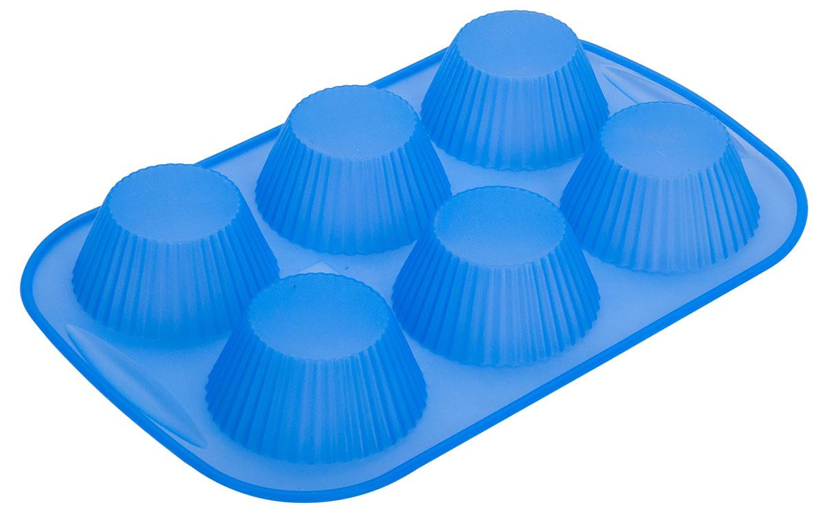 Форма для кексов Regent Inox Silicone, 6 ячеек. 93-SI-FO-11093-SI-FO-110Форма для кексов Regent Inox Silicone выполнена из силикона и предназначена для изготовления конфет, мармелада, желе, льда и выпечки. Форма вмещает 6 лакомств. Готовые сладости вынимаются из гибкой и крепкой формы весьма свободно, а в период изготовления не пригорают. Пищевой силикон совершенно не опасен и не вступает в реакцию с продуктами, а также не оказывает влияние на запах и вкус готового блюда. С помощью такого легкого в использовании изделия любой сможет приготовить настоящий кулинарный шедевр.Изделие подходит для приготовления в духовке и морозильную камеру, не опасаясь деформации.Размер формы: 26 х 18 х 2,5 смДиаметр донышка формы: 4 смДиаметр верха формы: 7 см