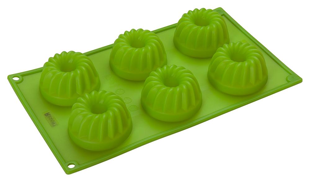 Форма для кексов Regent Inox Silicone, цвет: зеленый, 6 ячеек, 30 х 17,5 х 3,8 см93-SI-FO-24.2Силиконовая форма Regent Inox Silicone значительно упрощает процесс выпекания. Она устойчива к различным механическим повреждениям, абсолютно безвредна для здоровья и не впитывает запахи. Готовые сладости вынимаются из гибкой и прочной формы очень легко. Изделие способно выдерживать температуру от -40°C до +230°C. Этот аксессуар вмещает в себя 6 маффинов, кексов и других вкусных угощений. Силикон не деформируется и не прилипает к готовому блюду. Изделие можно использовать в посудомоечной машине или вручную с неабразивными средствами.