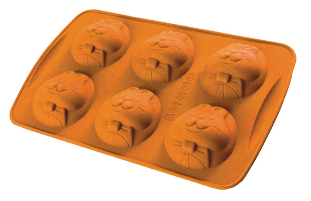 Форма для выпечки Regent Inox Зайчик, силиконовая, 6 ячеек, цвет: оранжевый, 26,5 х 17 х 3 см93-SI-FO-43Regent Inox Silicone Зайчик с милыми мордочками зайчиков выполнена из силикона, который безопасен для здоровья. Он не впитывает запахи, не оставляет пятен и не выделяет вредных веществ в пищу. Готовая выпечка вытаскивается из эластичного и крепкого изделия очень просто, а в период изготовления не пригорает. Яркая расцветка и интересный дизайн прекрасно поднимет настроение всем. Форма рассчитана на шесть кексов диаметром 6,5 см. Данную форму можно мыть водой с неабразивными моющими средствами или в посудомоечной машине.