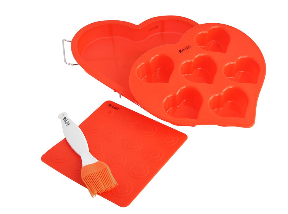 Набор для выпечки Regent Inox От всего сердца, силикон, 5 предметов93-SI-S-06Набор Regent Inox От всего сердца включает в себя 5 силиконовых предметов: форма Сердце, форма для кексов Сердечки, прихватка-подставка под горячее Сердца, металлическая подставка и кулинарная кисточка. В формах возможно приготовить кексы, вкуснейший пирог или нежное мороженое. Силикон не взаимодействует с продуктами как при нагревании, так и при заморозке.Изделия легко моются вручную и в посудомоечной машине. Они не боятся перепада температуры от -40° С до +230° С. Благодаря эластичности и рельефной поверхности, прихватка Сердца позволяет удержать горячий противень или открыть тугую винтовую крышку.