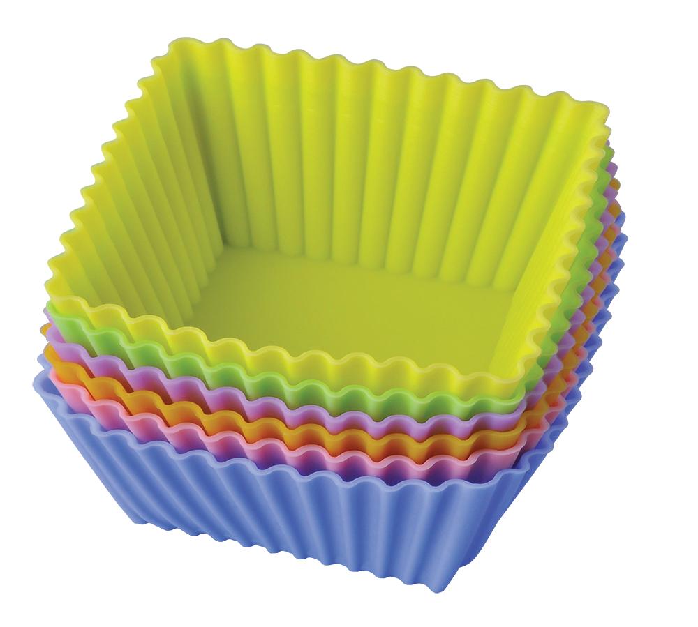 Набор форм для выпечки Regent Inox Тарталетки квадратные, 6 шт, 7 х 3,5 см93-SI-S-17.4Набор из 6 силиконовых форм для выпечки Regent Inox Тарталетки квадратные может использоваться для традиционного приготовления выпечки в духовке, в микроволновой печи, для охлаждения и замораживания десертов в холодильнике и морозильной камере. Благодаря значительной теплопроводимости силикона, блюдо будет выпекаться значительно быстрее. Кроме того, этот материал обладает отличными антипригарными свойствами: блюдо с легкостью вынимается из формы. Для этого стоит только отвернуть края и вывернуть форму.