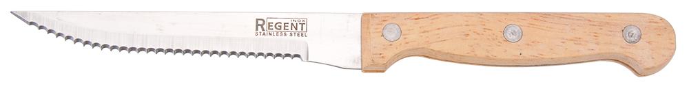 Нож для стейка Regent Inox Linea Retro, длина лезвия 12,5 см93-WH1-7Нож для стейка Regent Inox Linea Retro выполнен из качественнейшей нержавеющей стали 18/10 и дерева. Лезвие ножа не впитывает запахи, оставляя натуральный вкус продукта.Нож предназначен для профессионального и домашнего использования. Он отлично подходит для разделки рыбы и мяса как сырого, так и готового. С помощью него можно быстро и аккуратно отделить мякоть от костей. Длина ножа: 22 см.