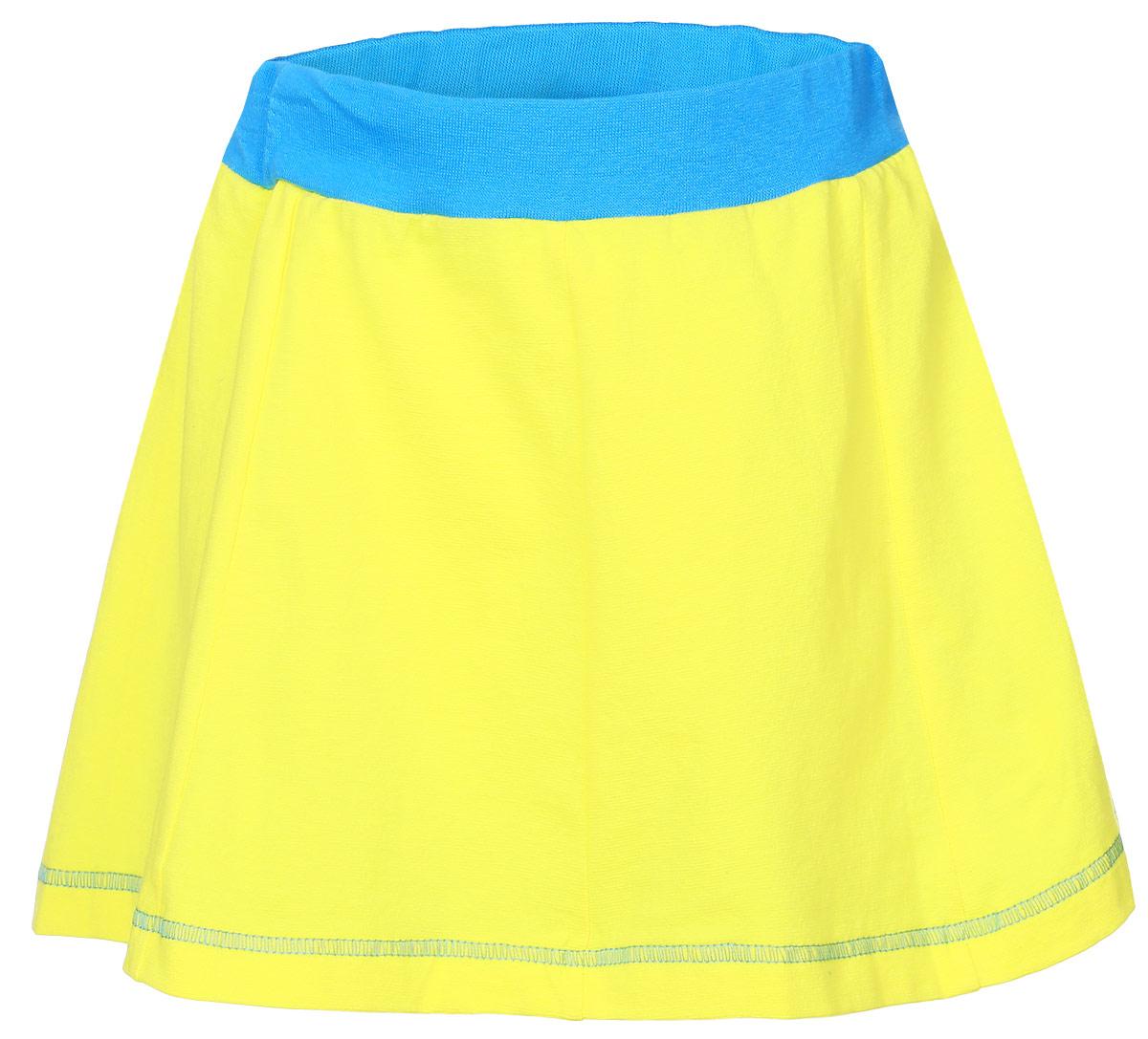 Юбка для девочки M&D, цвет: желтый, голубой. SSA261001-2. Размер 110SSA261001-2Юбка для девочки M&D изготовлена из натурального хлопка с добавлением лайкры. Юбка дополнена в поясе широкой эластичной резинкой, благодаря этому она не сдавливает животик ребенка. По линии талии заложены складочки, придающие изделию пышность. Модель выполнена в лаконичном дизайне.