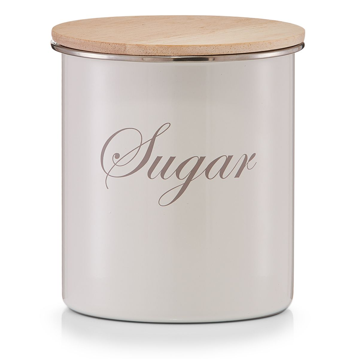 Банка для хранения Zeller Sugar, 11,2 х 11,2 х 12,5 см19311Банка Zeller Sugar, выполненная из металла, снабжена деревянной крышкой, которая плотно и герметично закрывается, дольше сохраняя аромат и свежесть содержимого. Изделие предназначено для хранения сахара. Стильная и практичная, такая банка станет незаменимым аксессуаром на любой кухне.