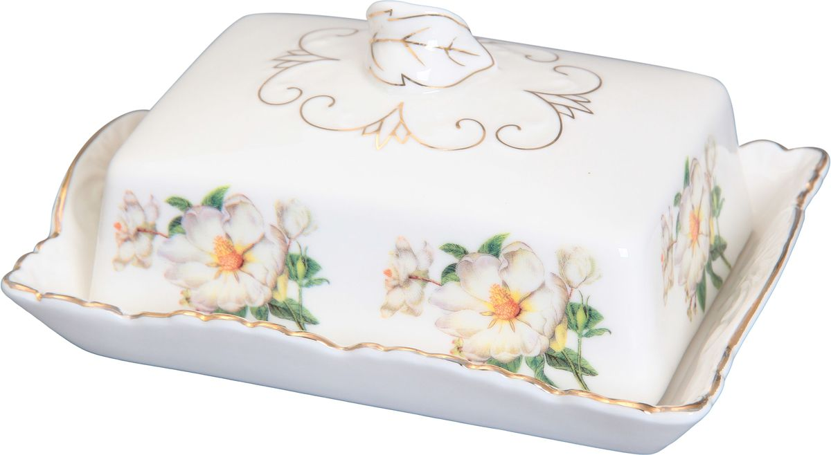 Масленка Elan Gallery Белый шиповник180421Великолепная масленка Elan Gallery Белый шиповник, выполненная из высококачественной керамики, предназначена для красивой сервировки и хранения масла. Она состоит из подноса и крышки. Масло в ней долго остается свежим, а при хранении в холодильнике не впитывает посторонние запахи. Масленка Elan Gallery Белый шиповник идеально подойдет для сервировки стола и станет отличным подарком к любому празднику.Не рекомендуется применять абразивные моющие средства. Не использовать в микроволновой печи.Размер масленки: 16 х 11,5 х 7 см.