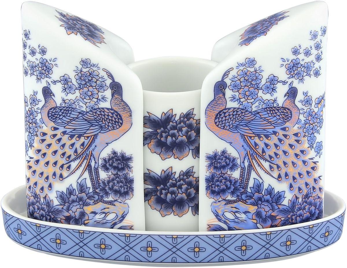 Набор для специй Elan Gallery Павлин синий, 4 предмета набор для специй terracotta дерево жизни