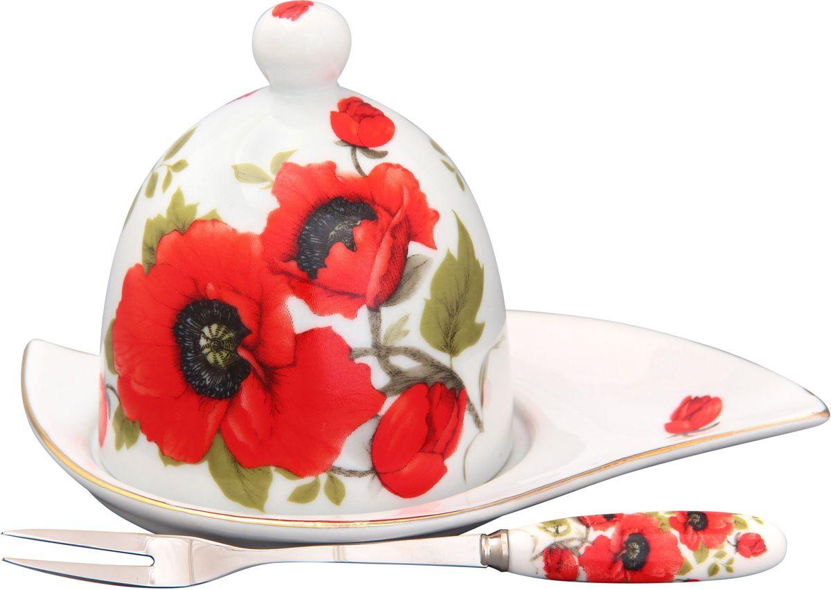 Подставка под лимон Elan Gallery Маки, с вилкой, 16 х 11 х 9 см180731Подставка под лимон состоит из блюда, крышки и вилочки. Украсит любое событие и сохранит лимон от заветривания. Изящная посуда, изготовленная из высококачественной керамики с прекрасным цветочным дизайном прекрасно дополнит интерьер Вашей кухни. А также станет отличным подарком Вашим друзьям и близким.Общий размер подставки: 16 х 11 х 9 см.