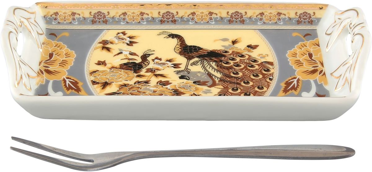 Тарелка под лимон Elan Gallery Павлин на бежевом, с вилкой, 15 х 7 х 3 см