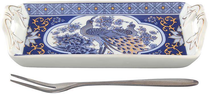 Тарелка под лимон Elan Gallery Павлин синий, с вилкой, 15 х 7 х 3 см