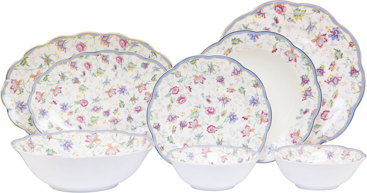 Столовый сервиз Elan Gallery Цветочный каприз, 23 предмета530051Прекрасный столовый сервиз из коллекции Амалия прекрасно впишется в любой классический интерьер, поэтому его часто выбирают в качестве подарка. В наборе: 6 обеденных тарелок, 6 суповых тарелок, 6 десертных тарелок, 2 салатника 420 мл, салатник 1,4 литра, 1 блюдо овальное 30,5 см, блюдо овальное 27 см