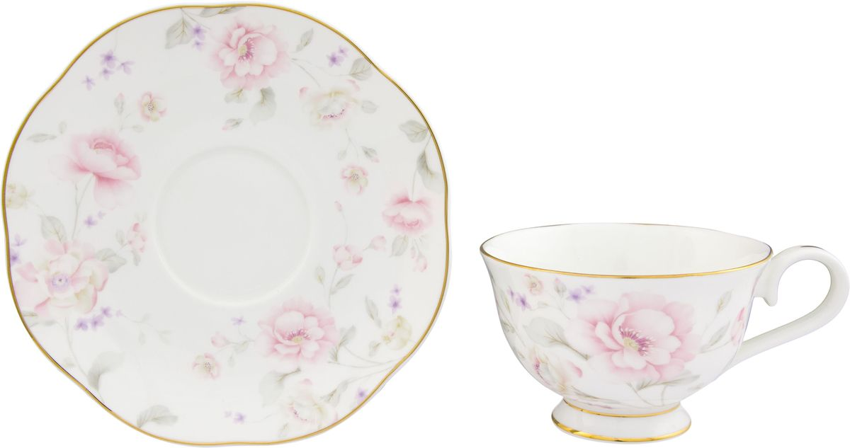 Чайная пара Elan Gallery Жизель, 2 предмета530058Шикарная чайная пара на 1 персону в нежных тонах станет памятным подарком. В комплекте 1 чашка на ножке объемом 230 мл, 1 блюдце.Изделие имеет подарочную упаковку из полипропилена с бантиком.