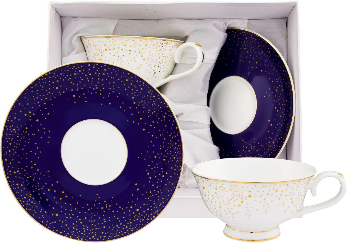 Чайный набор Elan Gallery День и ночь, 4 предмета530081Чайный набор на 2 персоны украсит Ваше чаепитие. В комплекте 2 чашки, 2 блюдца. Изделие имеет подарочную упаковку, поэтому станет желанным подарком для Ваших близких!Объем чашки 220 мл.