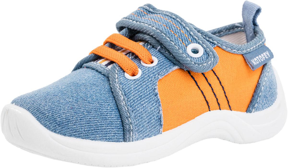 Кроссовки для мальчика Котофей, цвет: голубой, оранжевый. 131102-12. Размер 24131102-12Модные кроссовки для мальчика от Котофей выполнены из плотного текстиля. Подкладка и стелька из текстиля комфортны при движении. Ремешок с застежкой-липучкой и эластичная шнуровка надежно зафиксируют модель на ноге. Подошва дополнена рифлением.