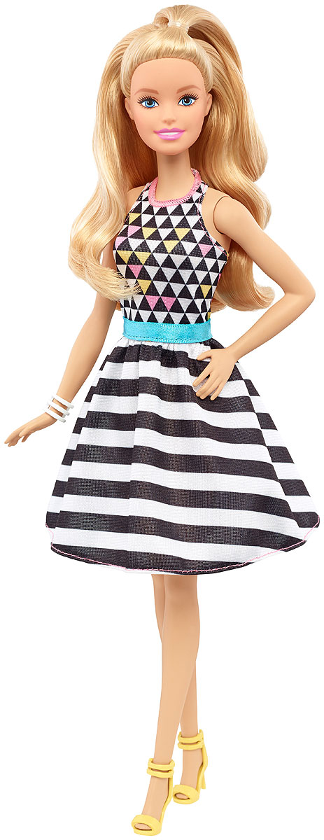 Barbie Кукла Fashionistas Геометричный принт кукла barbie городской блеск длинные светлые волосы черная куртка