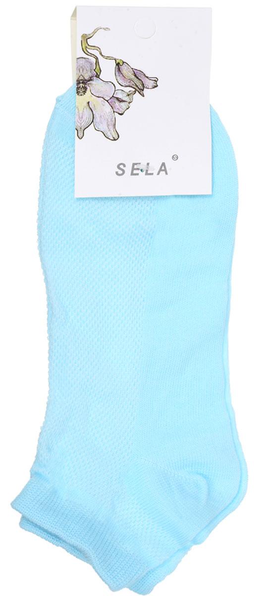 Носки женские Sela, цвет: светло-ментоловый. SOb-154/044-7101. Размер 21/23SOb-154/044-7101Удобные женские носки Sela, изготовленные из высококачественного материала. Благодаря содержанию мягкого хлопка в составе, кожа сможет дышать, а эластан позволяет носкам легко тянуться, что делает их комфортными в носке. Эластичная резинка плотно облегает ногу, не сдавливая ее, обеспечивая комфорт и удобство. Верхняя сторона носков оформлена небольшой перфорацией. Уважаемые клиенты!Размер, доступный для заказа, является длиной стопы.
